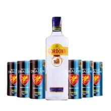 Kit Gin Gordons com 6 Energéticos Wild Dragon Tropical